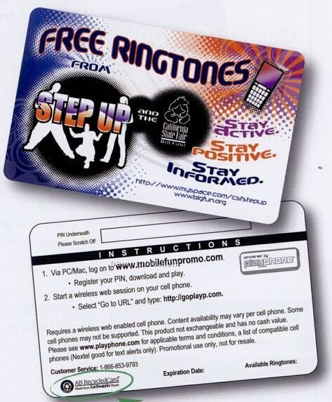 Ringtone Download Card (10 Ringtone)