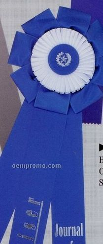 "28"" Custom Double Rosette Ribbon With Triple 2 1/2""X24"" Streamers"