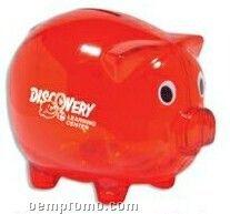 "5"" Translucent Red Piggy Banks (Imprinted)"