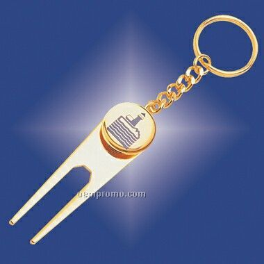 Golf Divot Tool & Ball Marker Keychain (Screened)