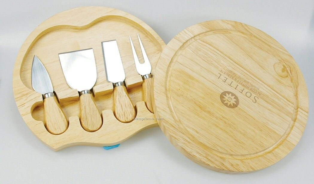 Nylon Cooler Bag W/ 4 Piece Cheese Tool Set & Oak Wood Board