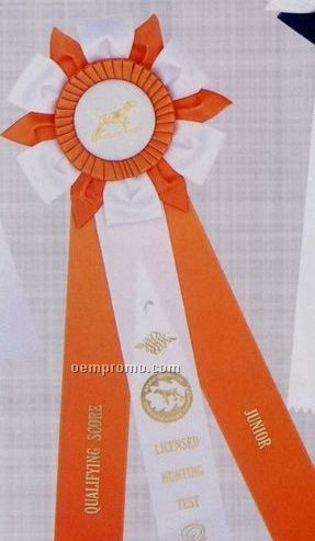 "18"" Custom Triple Layer Rosette Ribbon With Triple 2""X15"" Streamers"