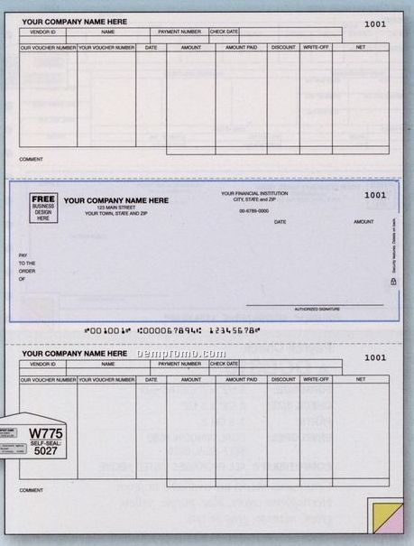 Laser Accounts Payable Check W/ Stub (1 Part)