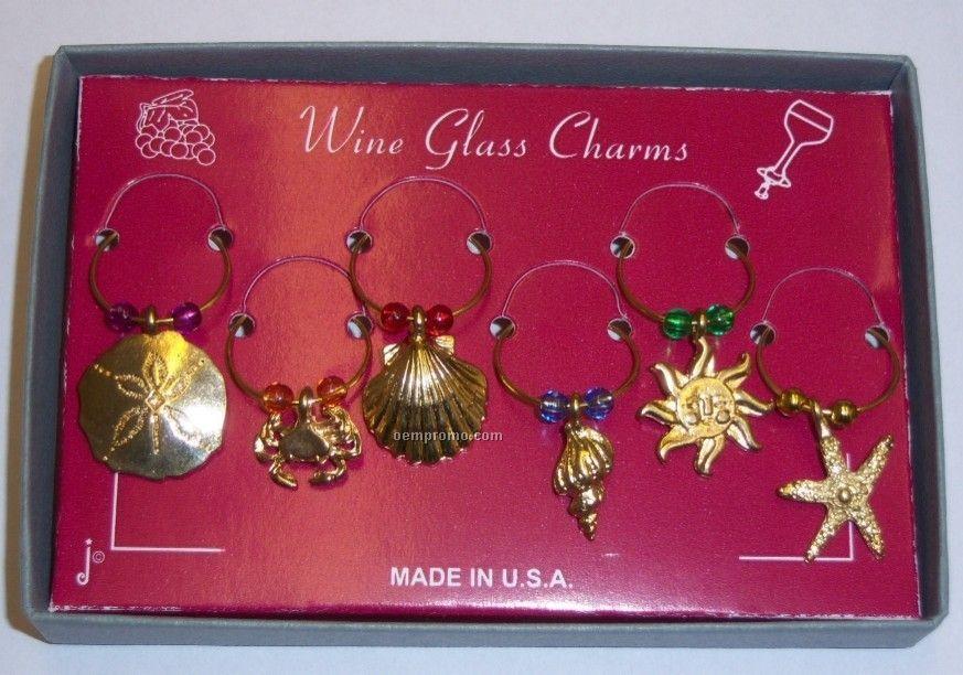 Marken Design Wine Glass Charm Set - Beach