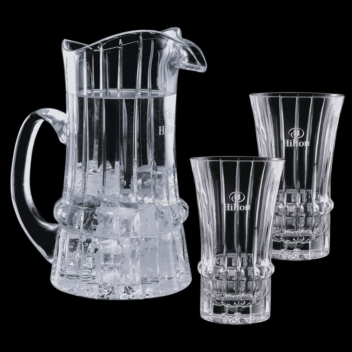 Steinbach Crystal Pitcher And 2 Cooler Glasses