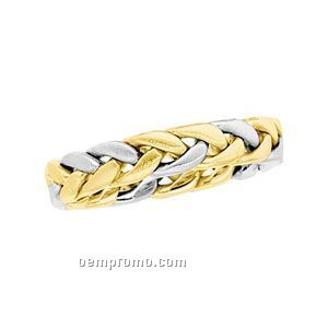 14ktt 3-1/2mm Ladies' Hand Woven Comfort Fit Wedding Band Ring (Size 7)