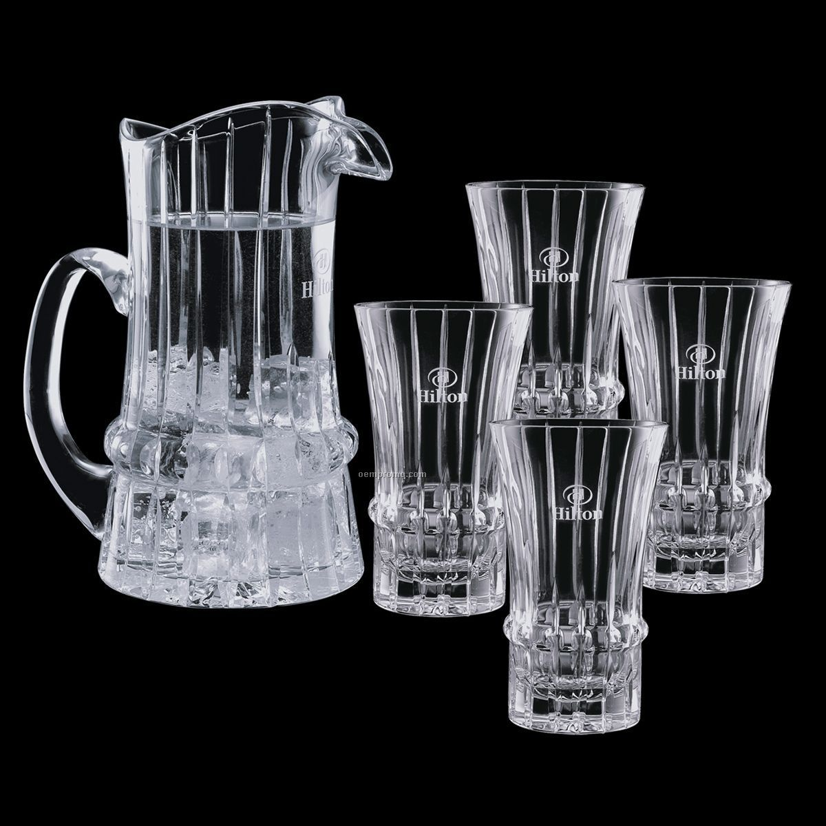 Steinbach Crystal Pitcher And 4 Cooler Glasses