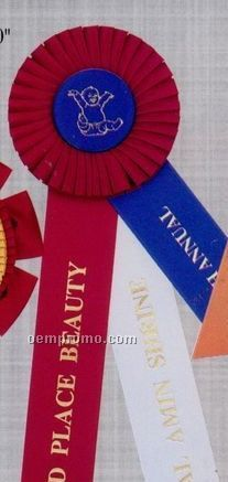 "14"" Custom Rosette Ribbon With Double 2""X12"" Streamers & 2""X7"" Side Tab"