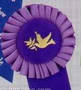 "5 1/2"" Custom Rosette Ruffled Ribbon With Single 1 5/8""X3 1/2"" Streamer"