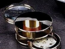 Chrome Plated Paper Weight W/ Compass And Magnifier