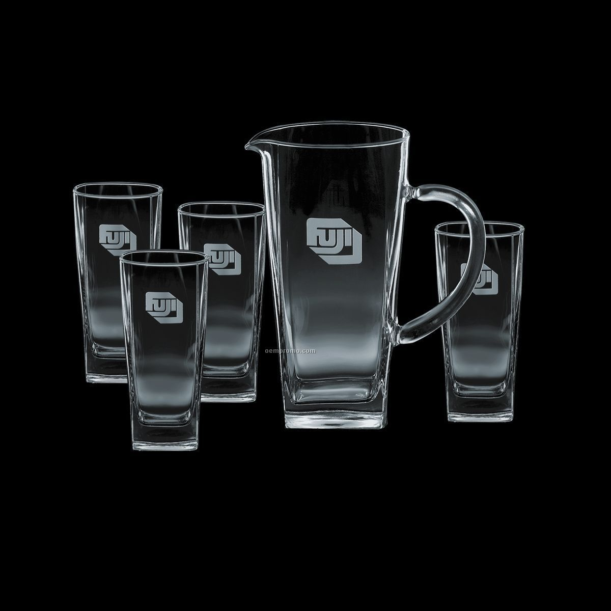 Sterling Pitcher & 4 Hiball Glasses