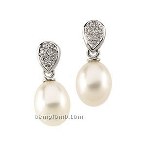 Ladies' 14kw 8 To 9mm Cultured Pearl & 1/10 Ct Tw Diamond Round Earring