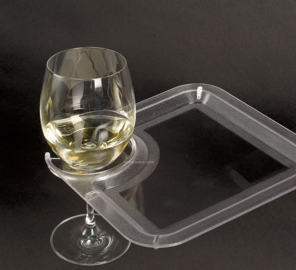 Square Party Plate With Built In Stemware Holder