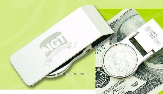 State Quarter Money Clip W/ Spring Mechanism - Laser Engraved