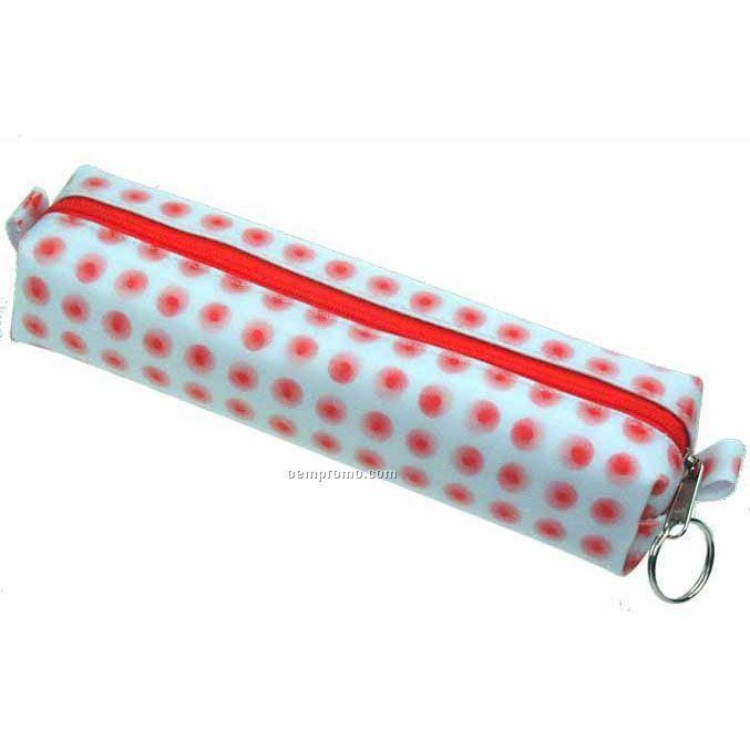 White/Red Globo Dot 3d Lenticular Pencil Case (Stock)