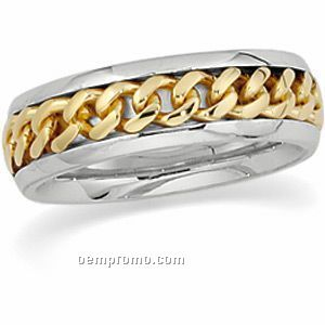 14ktt 6mm Men's Hand Woven Wedding Band Ring (Size 11)