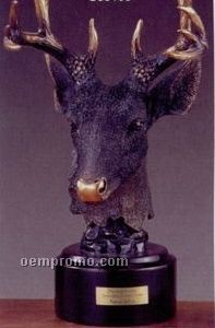 "Deer Head W/ Gold Nose Trophy On Round Base (7""X11"")"