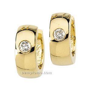 Ladies' 14ky 1/5 Ct Tw Diamond Round Hinged Earring