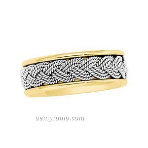 14ktt 7mm Ladies' Hand Woven Wedding Band Ring (Size 7) Silver Center