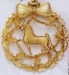 Cast Round Wreath With Horse Holiday Ornament