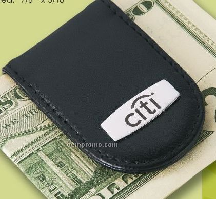 Leather Money Clip W/ Photo Frame (Dark Etched)
