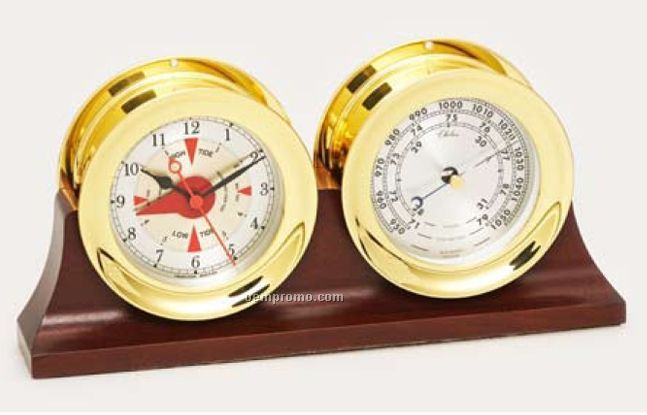 """Nautical Series Brass Barometer With 4 1/2"""" Silver Dial"""