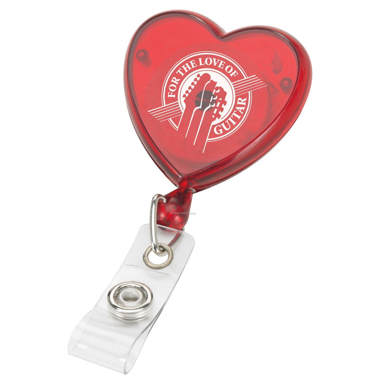 Retractable Badge Reel - Heart Shaped
