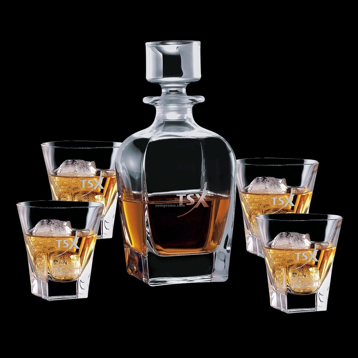 Chesswood Decanter & 4 On The Rocks Glasses