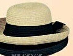 Ladies Straw Hat W/ Tie Band
