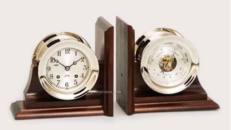 """Nickel 4 1/2"""" Ship's Bell Barometer"""