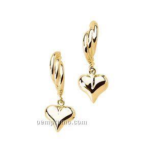 14ky 11x3-3/4 Ladies' Heart Dangle J-hoop Earring