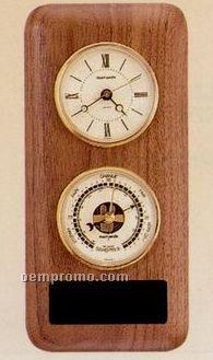 American Walnut Double Instrument Clock & Barometer Wall Unit