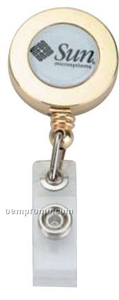 Gold Plated Retractable Round Badge Holder