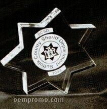 Acrylic Paperweight Up To 12 Square Inches / Police Star 1