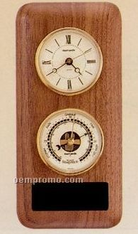 American Walnut Double Instrument Barometer & Thermometer Wall Unit
