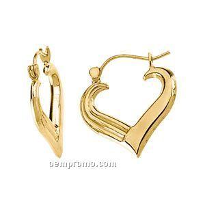 14ky 16x19-1/2 Ladies' Heart Hoop Earring