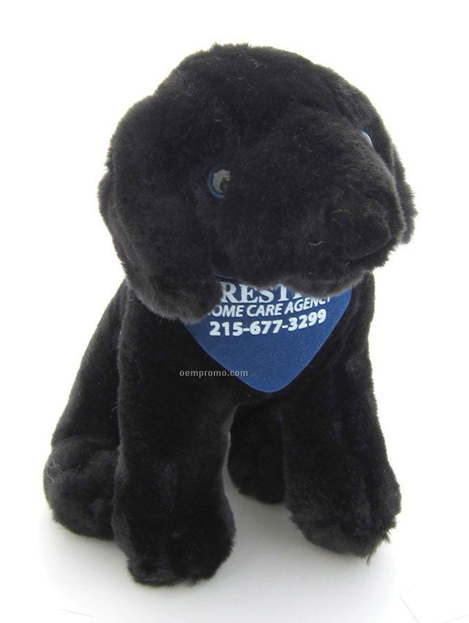 "Sitting Stuffed Beanie Dog With Bandana - Black (7"")"