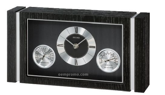 Seiko Black Wooden Case Desk & Table Clock
