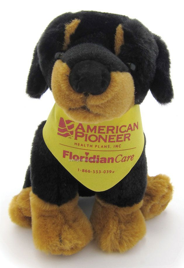 "Sitting Stuffed Beanie Dog With Bandana - Black & Tan (7"")"