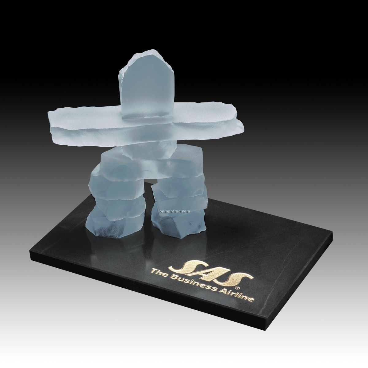 """4 1/2"""" Frosted Inukshuk Sculpture On Marble Base"""