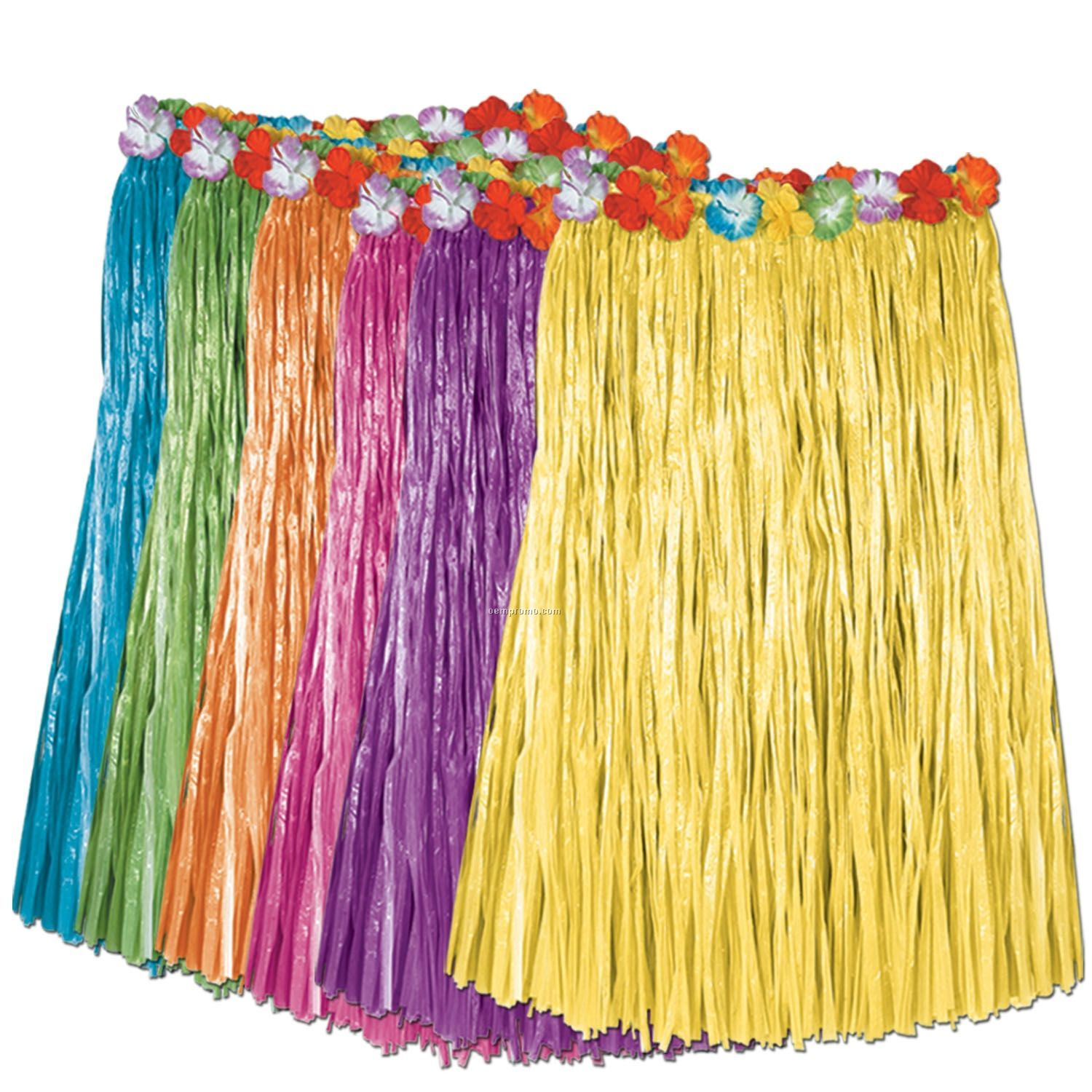 Artificial Grass Hula Skirt Assortment W/ Floral Waistband