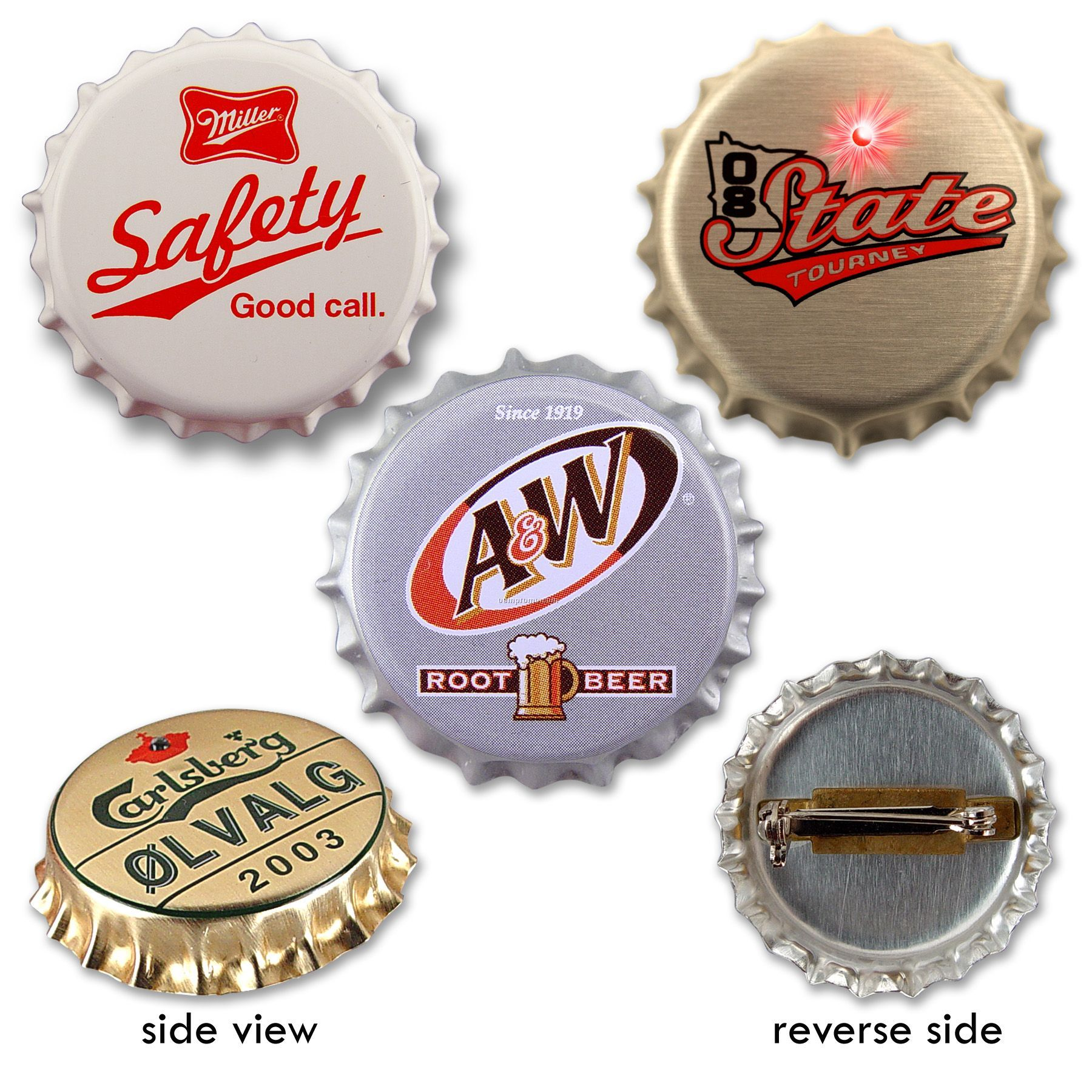 Bottle Cap Lapel Pin - 4-color Process Imprint