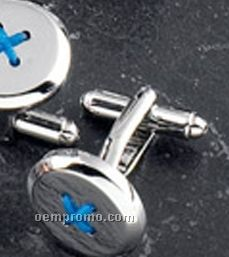 Button Design Rhodium Plated Cuff Links