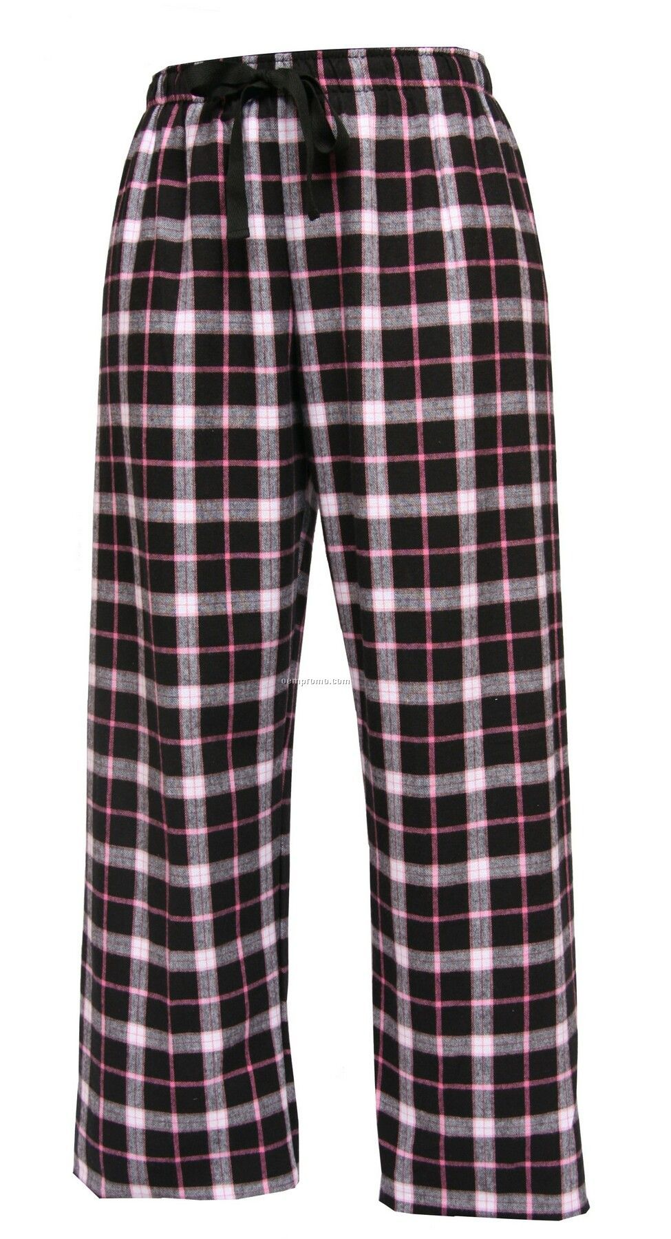 Adult Black/Pink Plaid Fashion Flannel Pant With Tie Cord