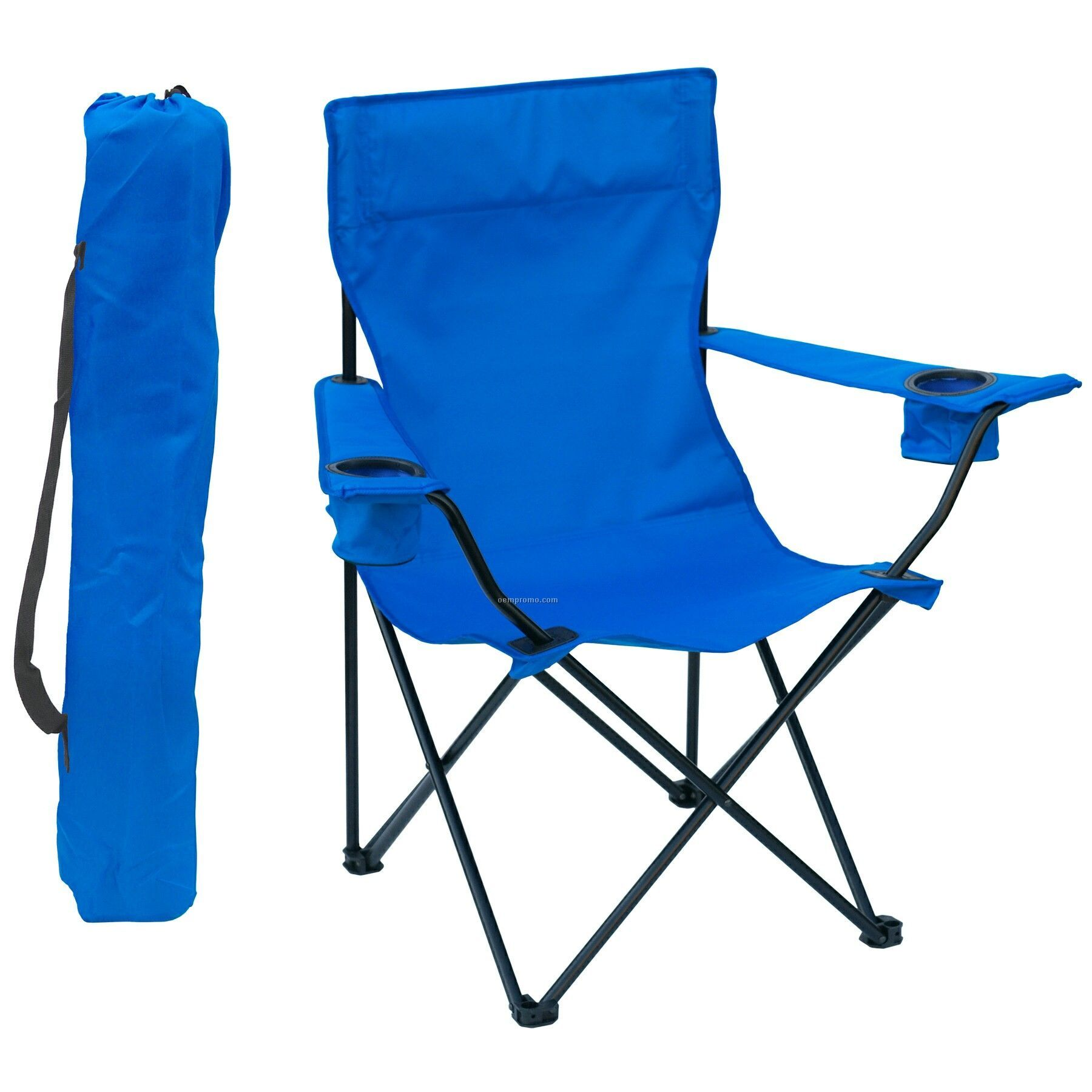 Folding Chair W Arm Rests 2 Cup Holders And Carry Bag
