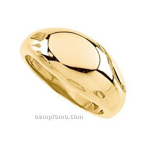 14ky 12mm Ladies Metal Dome Fashion Ring