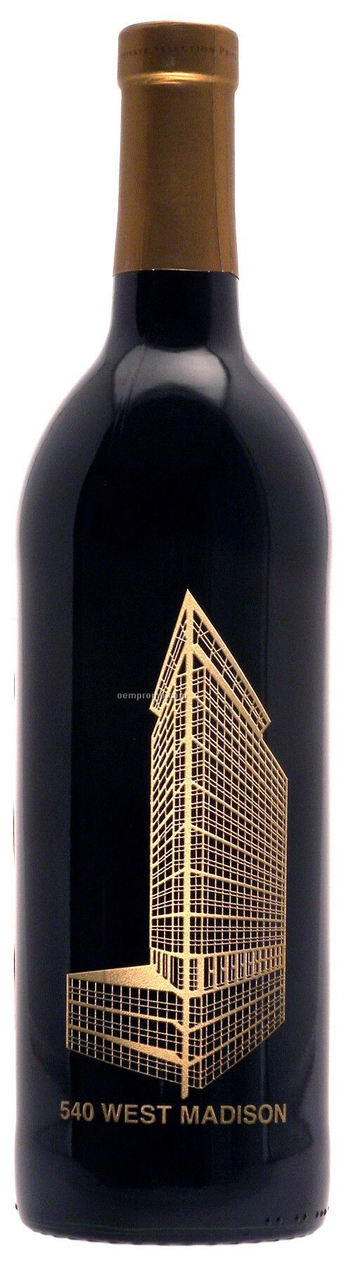 750ml Standard Merlot Wine Etched W/1 Color Fill