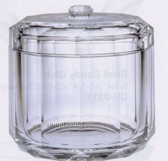 Clear Acrylic Faceted Candy Jar/ Cotton Ball Holder