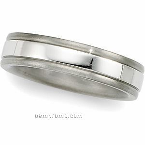 5mm Ladies Titanium & Platinum Comfort Fit Wedding Band Ring (Size 7)