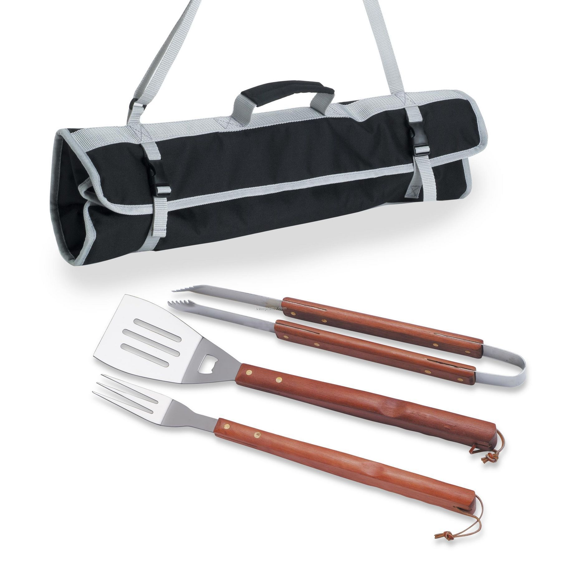 3 Piece Barbecue Tool Set W Folding Easy Carry Tote Bag